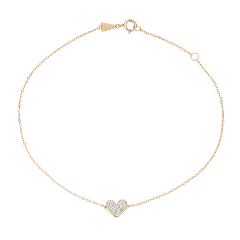 Tiny Pavé Folded Heart Anklet