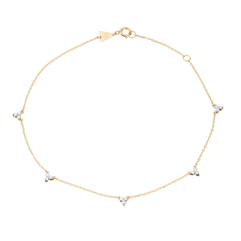 5 Cluster Chain Anklet