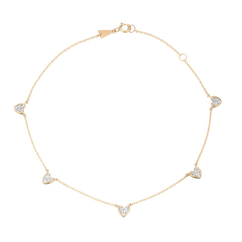 5 Pavé Folded Heart Chain Anklet