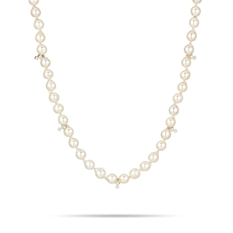 One of a Kind 2 Diamond Amigos Akoya Pearl Chain Necklace
