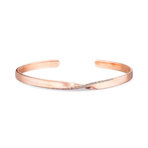 Small Pavé One Twist Cuff in 14k Rose Gold