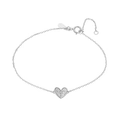 Tiny Pavé Folded Heart Bracelet