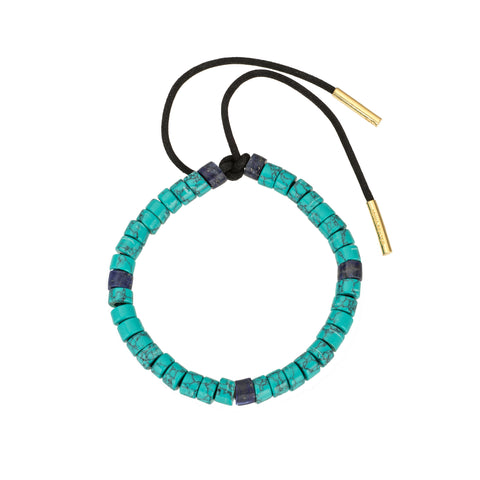 Turquoise and Lapis Leather Bracelet