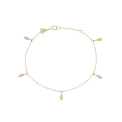 Pave Water Drop Chain Bracelet
