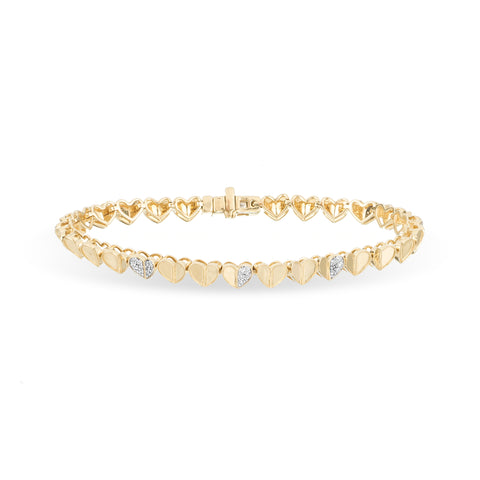Pavé Folded Heart Tennis Bracelet