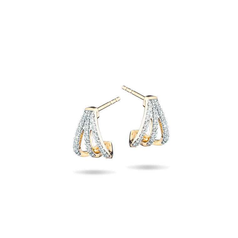 Pavé Triple Hoops