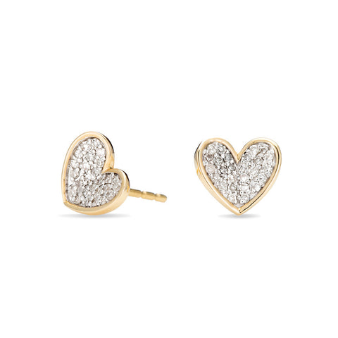 Tiny Pavé Folded Heart Posts