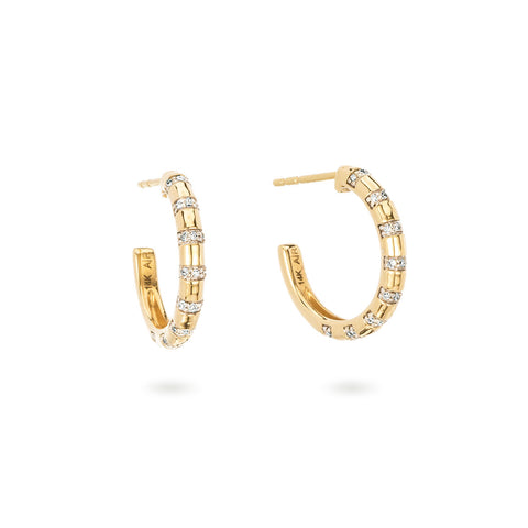 Small Pavé Diamond Stripe Hoops