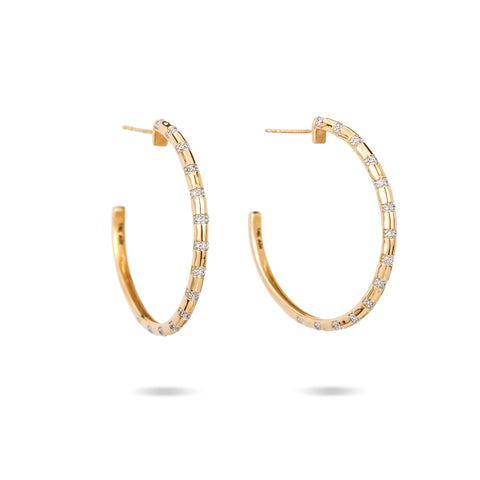 Large Pavé Diamond Stripe Hoops