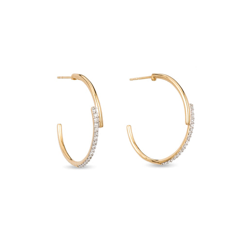 Large Pavé Crossover Hoops