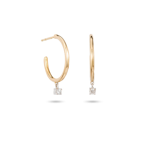 1 Diamond Charm Hoops-MXD