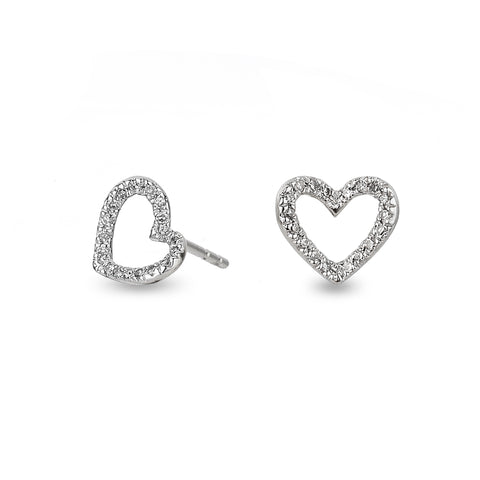 Tiny Pavé Open Folded Heart Posts