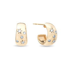 Celestial Diamonds Wide Huggie Hoops