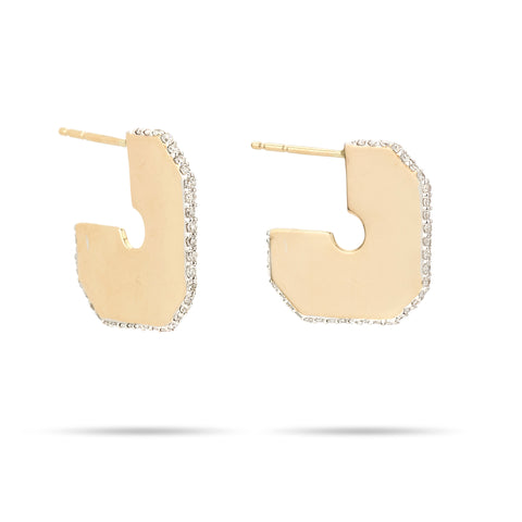 Square Pavé Dog Tag Hoops