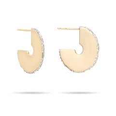 Round Pavé + Baguette Dog Tag Hoops