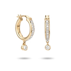 Pavé Diamond Drop Huggie Hoops