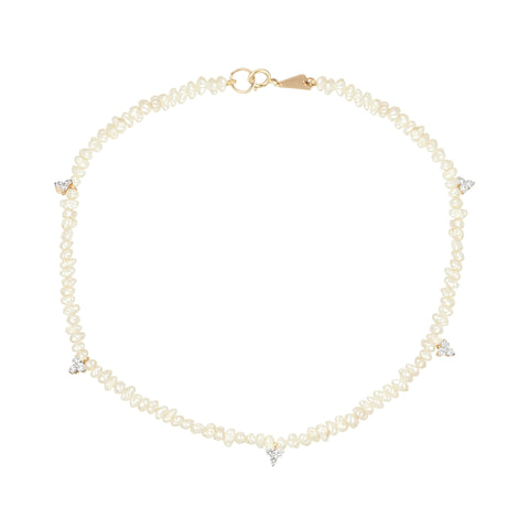 Diamond Cluster Freshwater Pearl Anklet