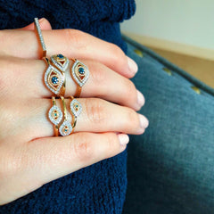 Tiny Pavé Evil Eye Ring