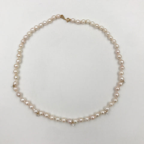 One of a Kind Diamond Cluster Akoya Pearl Necklace