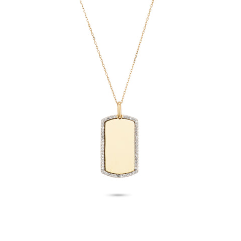 Pavé Dog Tag Necklace