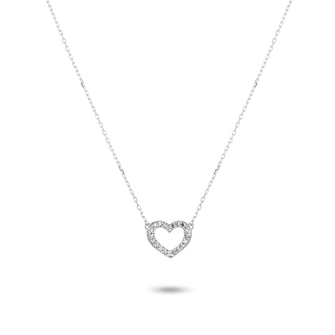 Tiny Pavé Open Folded Heart Necklace