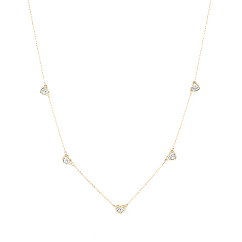 5 Pavé Folded Heart Chain Necklace
