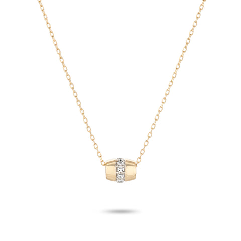 Super Tiny Stripe Pavé Barrel Necklace