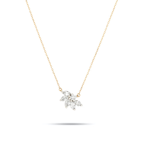 Grace Half Flower Marquise Necklace