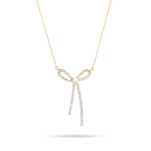 Long Pavé Bow Necklace