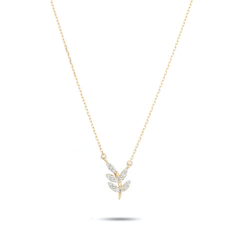 Garden Party Pavé Leaf Necklace