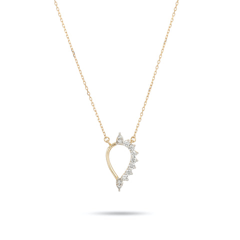 Tiny Side Diamond Teardrop Necklace