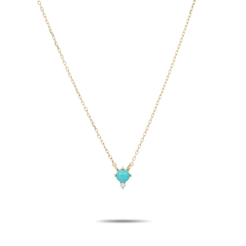 Turquoise + Round Diamond Necklace