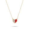 Red Enamel Pavé Folded Heart Necklace