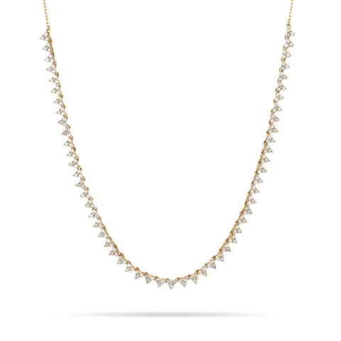 Diamond Cluster Half Riviera Necklace
