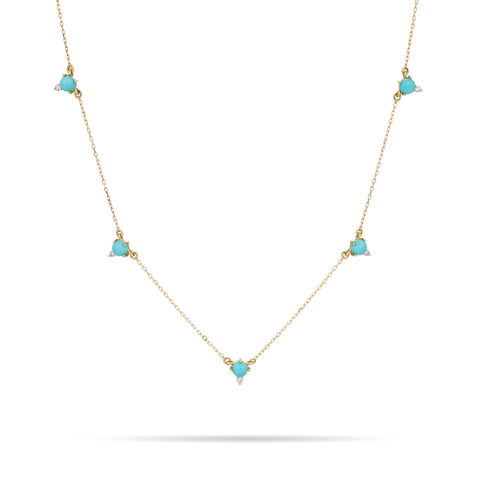 Turquoise + Round Diamond Chain Necklace