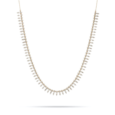 Stack Baguette Half Riviera Necklace