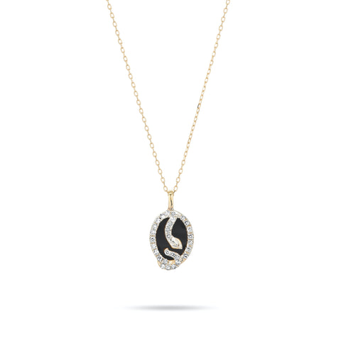 Tiny Onyx + Diamond Oval Snake Pendant
