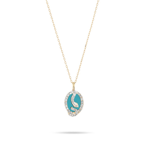 Tiny Turquoise + Diamond Oval Snake Pendant