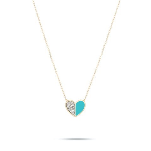 Ceramic Pavé Folded Heart Necklace