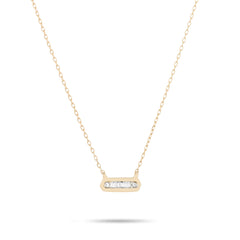 Tiny Baguette Bar Necklace