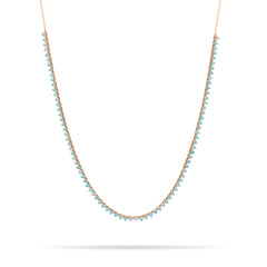Turquoise + Diamond Half Riviera Necklace