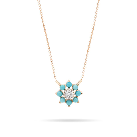 Turquoise + Diamond Flower Necklace