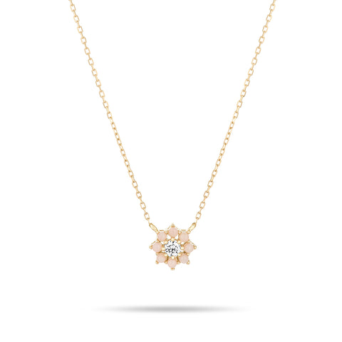 Pink Opal + Diamond Flower Necklace