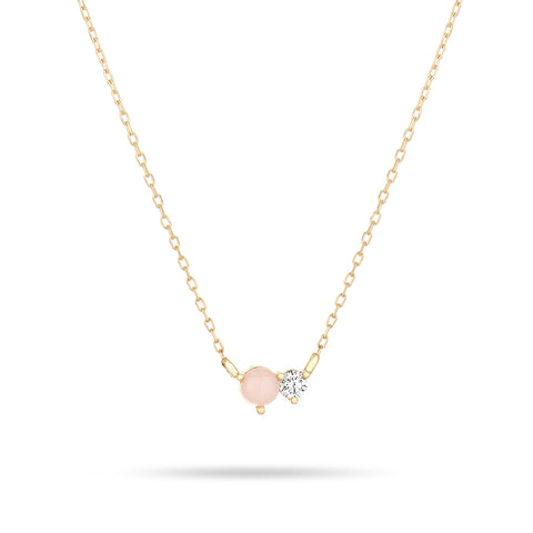 Pink Opal + Diamond Amigos Necklace