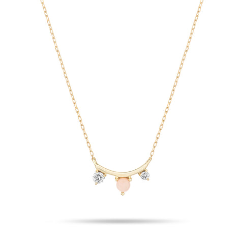 Pink Opal + Diamond Amigos Curve Necklace