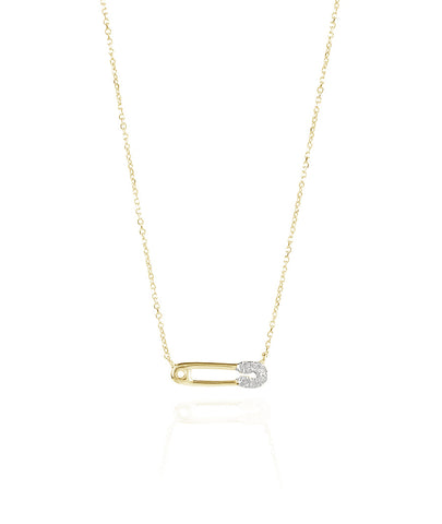 Super Tiny Pavé Safety Pin Necklace