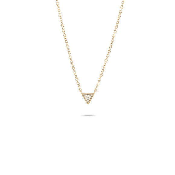 Super Tiny Solid Pavé Triangle Necklace