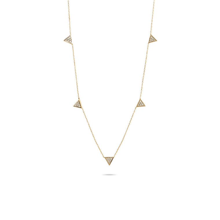 Super Tiny Solid Pavé Triangle Chain Necklace