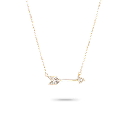 Tiny Pavé Arrow Necklace