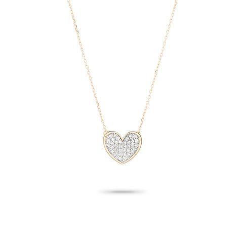 Pavé Folded Heart Necklace
